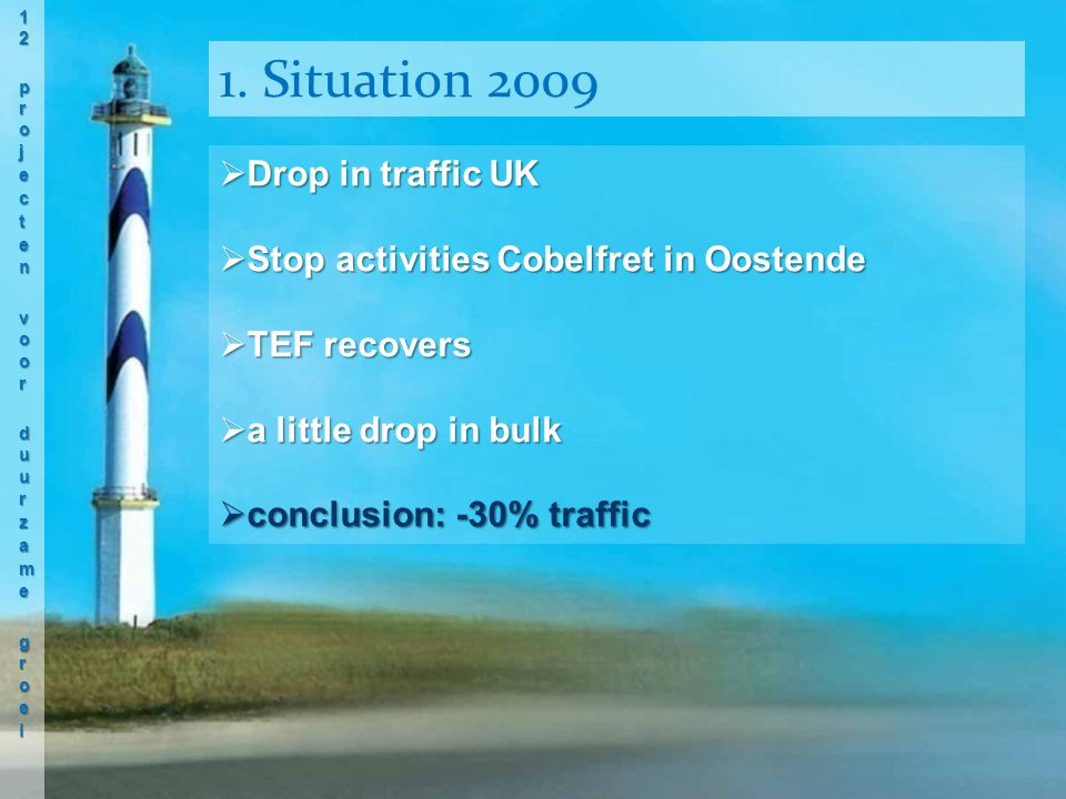  Drop in traffic UK  Stop activities Cobelfret in Oostende  TEF recovers  a little drop in bulk  conclusion: -30% traffic 1.