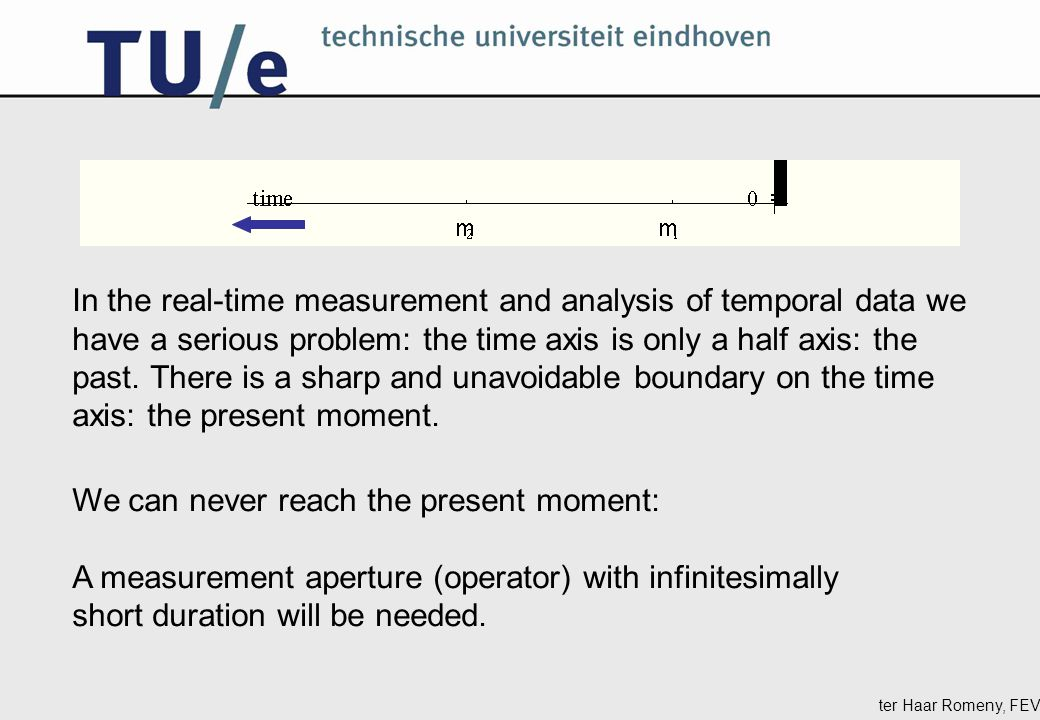 ter Haar Romeny, FEV We can never reach the present moment: A measurement aperture (operator) with infinitesimally short duration will be needed.