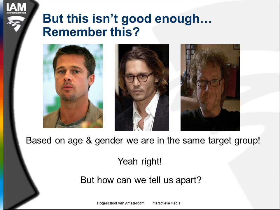 Hogeschool van Amsterdam Interactieve Media But this isn't good enough… Remember this? Based on age & gender we are in the same target group! Yeah rig