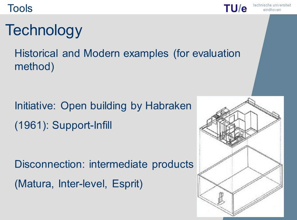 8 TU/e technische universiteit eindhoven Technology Historical and Modern examples (for evaluation method) Initiative: Open building by Habraken (1961): Support-Infill Disconnection: intermediate products (Matura, Inter-level, Esprit) Tools