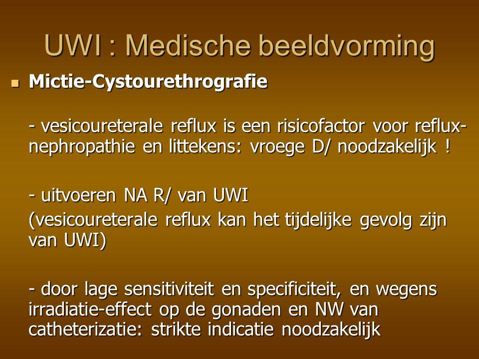 Isotopen Cystogram (met DTPA !) Ionizatie-radiatie dosis is slechts 1 percent van deze bij mictiecystourethrografie Isotopen Cystogram (met DTPA !) Ionizatie-radiatie dosis is slechts 1 percent van deze bij mictiecystourethrografie Continue monitoring is ook meer sensitief voor het opsporen van reflux dan de intermittente flouroscopische monitoring bij mictiecystourethrografie UWI : Medische beeldvorming