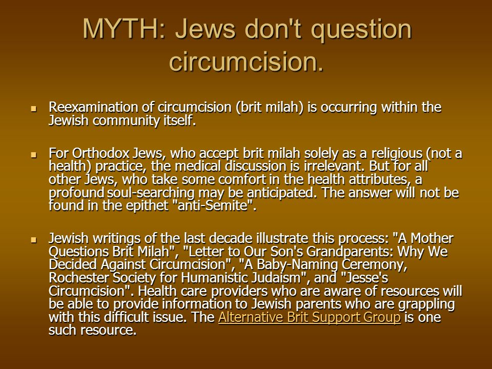 MYTH: Parents have the right to decide whether or not to circumcise their son(s).