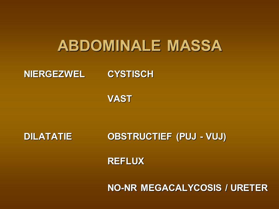 POSTNATALE EVALUATIE echo D1 of 2 : dilatatie = pyelum >15 mm = > cave :fysiologische dilatatie dehydratatie lage diurese (GFR) lage diurese (GFR) asymptomatisch en geen kleppen (cystogram ??) : 2 m AB => DMSA asymptomatisch en geen kleppen (cystogram ??) : 2 m AB => DMSA