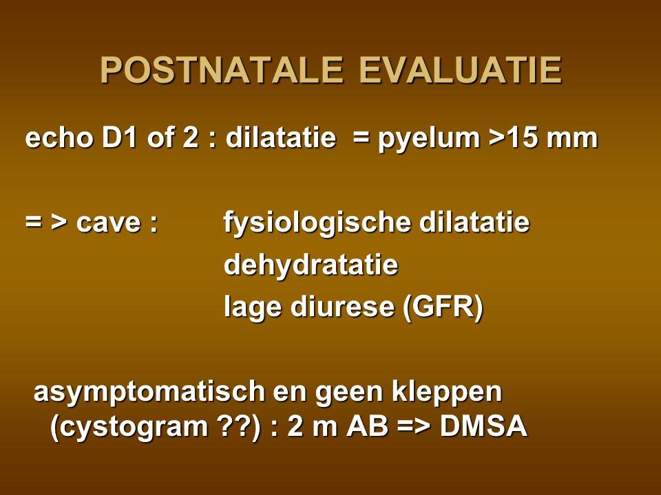 controle echo (D5 en D21): +  cystogram (laattijdige opname) isotopen (MAG3) + furosemide + blaassonde : PUJ, VUJ, lager ?