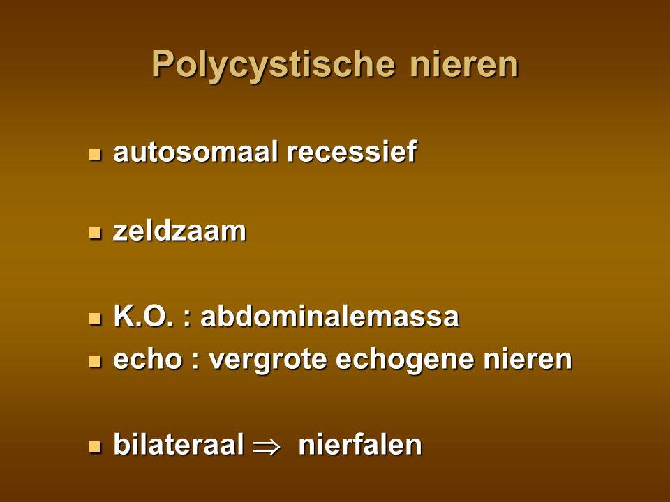 Niertumoren tumor : neuroblastoma mesoblastisch nefroma Wilms: zeldzaam, 3j, Wilms: zeldzaam, 3j, multiloc.