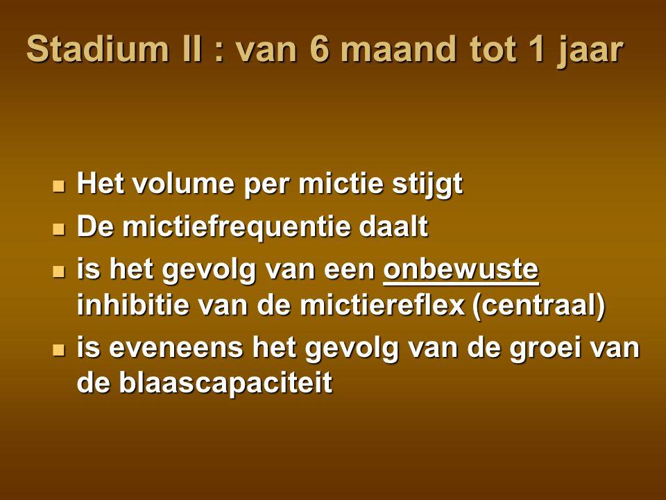 Stadium III : van 1 tot 2 jaar Het gevoel van een volle blaas ontwikkelt zich Het gevoel van een volle blaas ontwikkelt zich Eerste aanzet tot controle van de mictie Eerste aanzet tot controle van de mictie