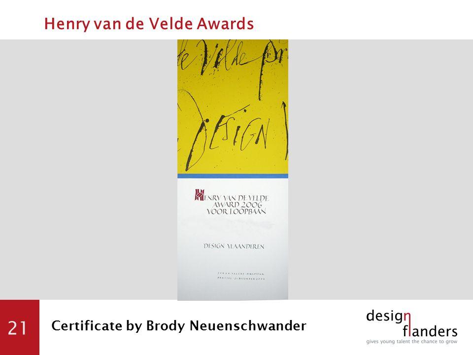 21 Certificate by Brody Neuenschwander Henry van de Velde Awards