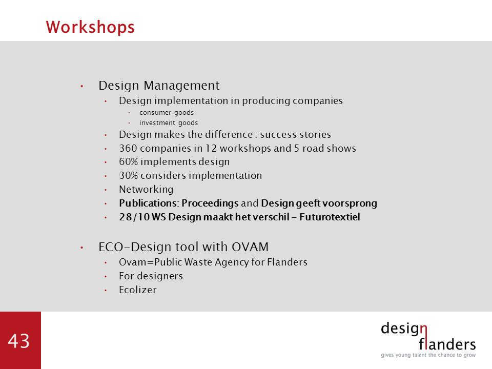 43 Workshops Design Management Design implementation in producing companies consumer goods investment goods Design makes the difference : success stories 360 companies in 12 workshops and 5 road shows 60% implements design 30% considers implementation Networking Publications: Proceedings and Design geeft voorsprong 28/10 WS Design maakt het verschil - Futurotextiel ECO-Design tool with OVAM Ovam=Public Waste Agency for Flanders For designers Ecolizer