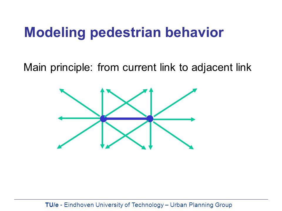 TU/e - Eindhoven University of Technology – Urban Planning Group Modeling pedestrian behavior Main principle: from current link to adjacent link