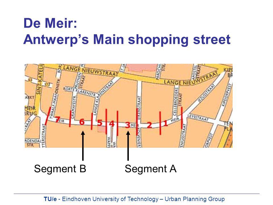 TU/e - Eindhoven University of Technology – Urban Planning Group De Meir: Antwerp's Main shopping street Segment BSegment A
