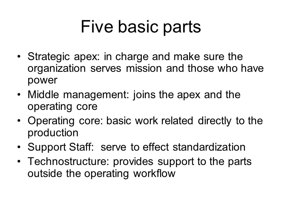 Five basic parts Strategic apex: in charge and make sure the organization serves mission and those who have power Middle management: joins the apex and the operating core Operating core: basic work related directly to the production Support Staff: serve to effect standardization Technostructure: provides support to the parts outside the operating workflow