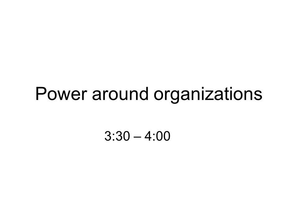Power around organizations 3:30 – 4:00