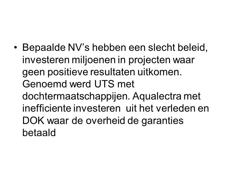 Bepaalde NV's hebben een slecht beleid, investeren miljoenen in projecten waar geen positieve resultaten uitkomen. Genoemd werd UTS met dochtermaatsch
