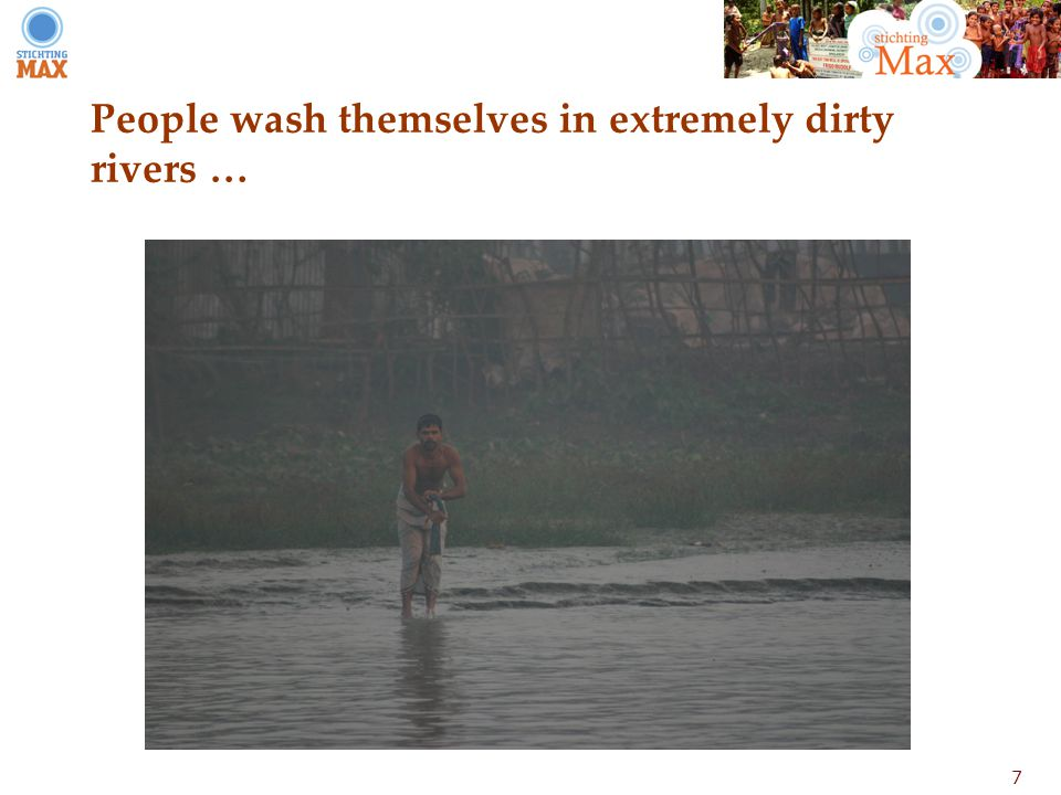 7 People wash themselves in extremely dirty rivers …