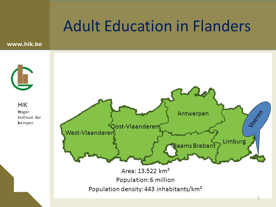 HIK Hoger Instituut der kempen Adult Education in Flanders West-Vlaanderen Oost-Vlaanderen Antwerpen Vlaams Brabant Limburg Voeren Surface: 13.522 km² Population: 6 million Population density: 443 inhabitants/km² Area: 13.522 km² Population: 6 million Population density: 443 inhabitants/km² 2