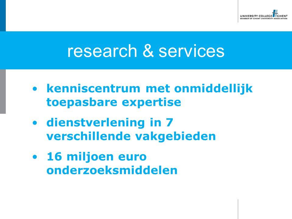 kenniscentrum met onmiddellijk toepasbare expertise dienstverlening in 7 verschillende vakgebieden 16 miljoen euro onderzoeksmiddelen research & services