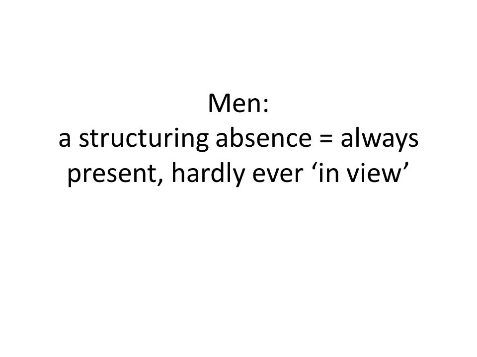 Men: a structuring absence = always present, hardly ever 'in view'