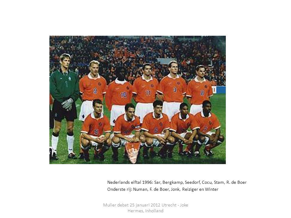 Mulier debat 25 januari 2012 Utrecht - Joke Hermes, Inholland Nederlands elftal 1996: Sar, Bergkamp, Seedorf, Cocu, Stam, R.