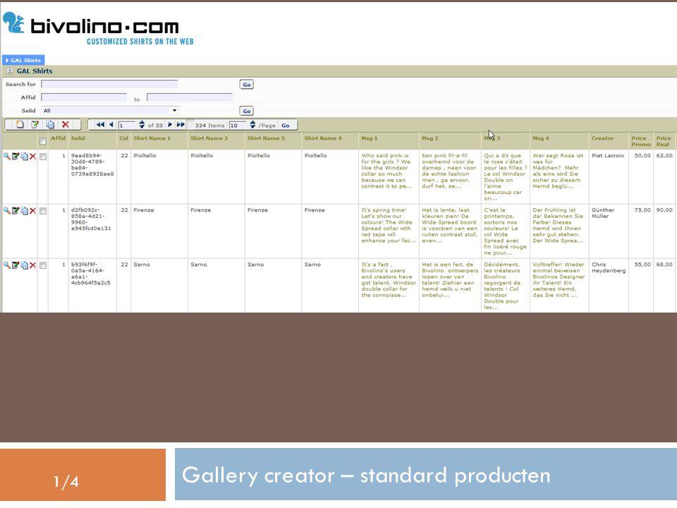 Gallery creator – standard producten 1/4