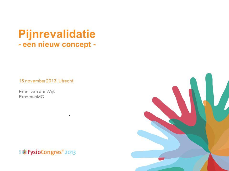 Pijnrevalidatie - een nieuw concept - 15 november 2013, Utrecht Ernst van der Wijk ErasmusMC '