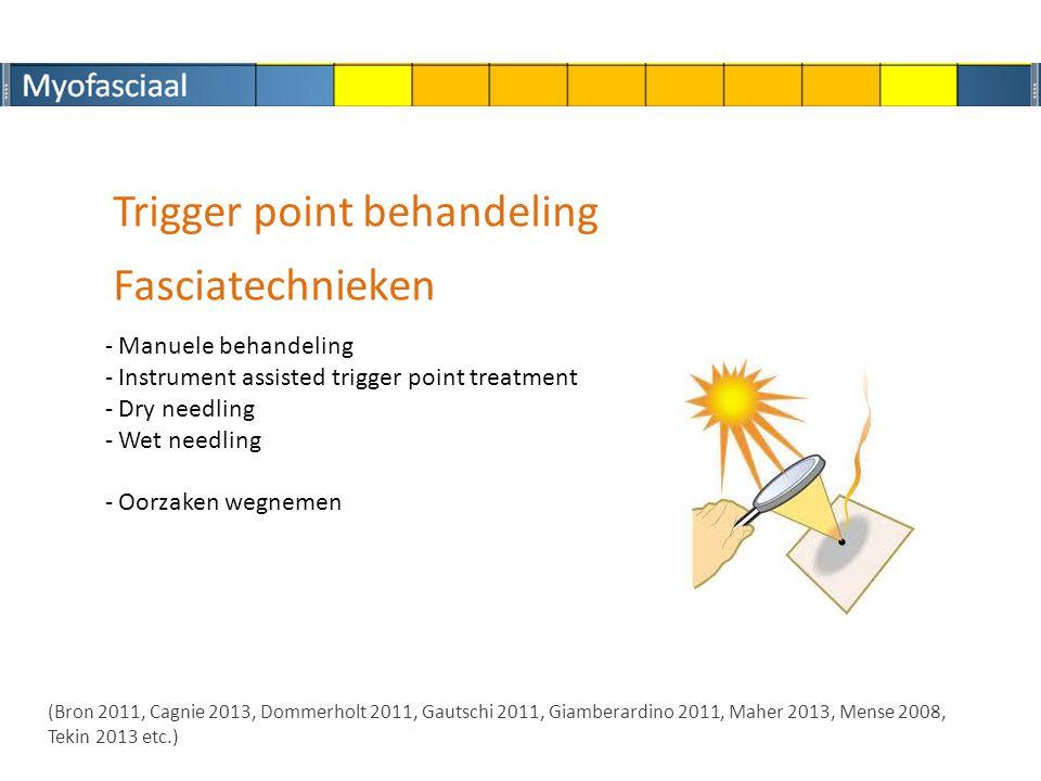Trigger point behandeling - Manuele behandeling - Instrument assisted trigger point treatment - Dry needling - Wet needling - Oorzaken wegnemen (Bron 2011, Cagnie 2013, Dommerholt 2011, Gautschi 2011, Giamberardino 2011, Maher 2013, Mense 2008, Tekin 2013 etc.) Fasciatechnieken