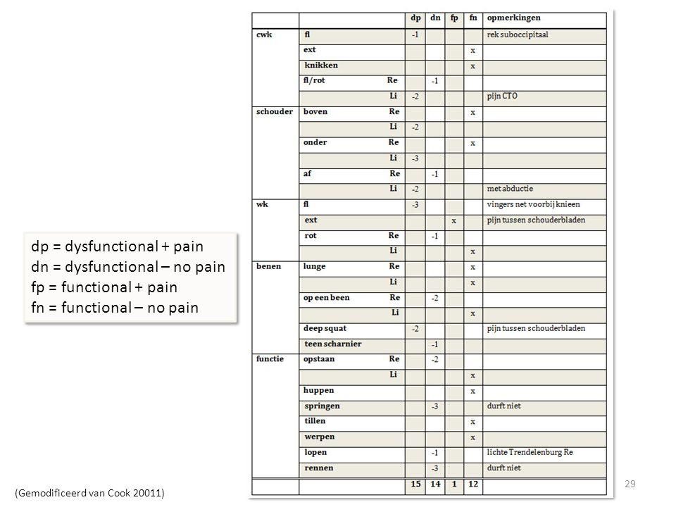 Ernst van der Wijk - 201329 dp = dysfunctional + pain dn = dysfunctional – no pain fp = functional + pain fn = functional – no pain dp = dysfunctional + pain dn = dysfunctional – no pain fp = functional + pain fn = functional – no pain (Gemodificeerd van Cook 20011)
