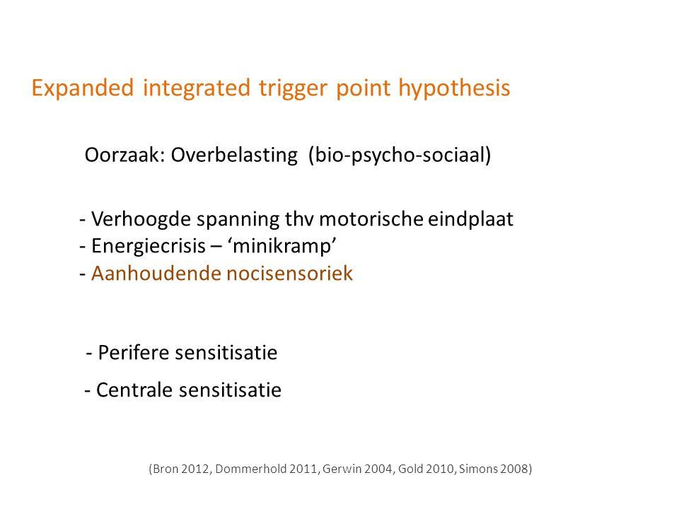 Expanded integrated trigger point hypothesis Oorzaak: Overbelasting (bio-psycho-sociaal) - Verhoogde spanning thv motorische eindplaat - Energiecrisis – 'minikramp' - Aanhoudende nocisensoriek - Perifere sensitisatie (Bron 2012, Dommerhold 2011, Gerwin 2004, Gold 2010, Simons 2008) - Centrale sensitisatie