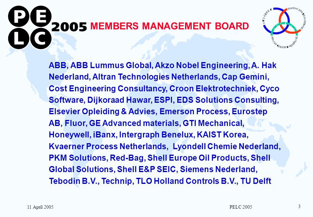 11 April 2005 PELC 2005 3 MEMBERS MANAGEMENT BOARD ABB, ABB Lummus Global, Akzo Nobel Engineering, A. Hak Nederland, Altran Technologies Netherlands,