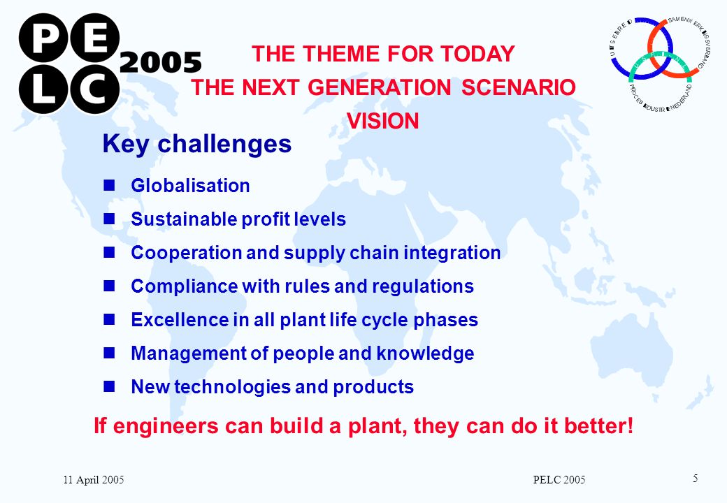 11 April 2005 PELC 2005 5 THE THEME FOR TODAY THE NEXT GENERATION SCENARIO VISION Key challenges Globalisation Sustainable profit levels Cooperation a