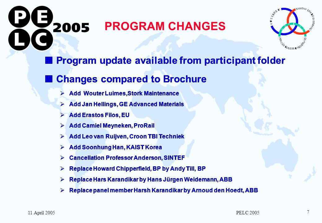 11 April 2005 PELC 2005 7 PROGRAM CHANGES nProgram update available from participant folder nChanges compared to Brochure  Add Wouter Luimes,Stork Ma