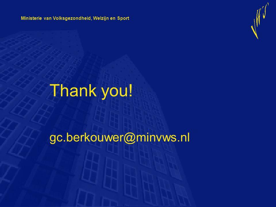 Ministerie van Volksgezondheid, Welzijn en Sport Thank you! gc.berkouwer@minvws.nl