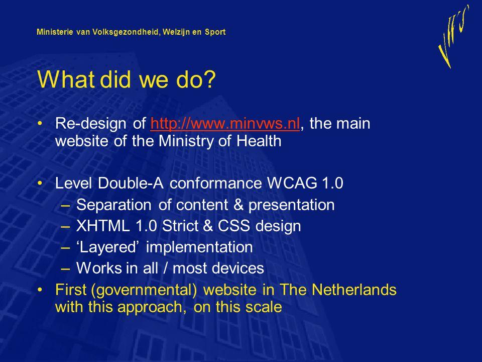 Ministerie van Volksgezondheid, Welzijn en Sport What did we do.