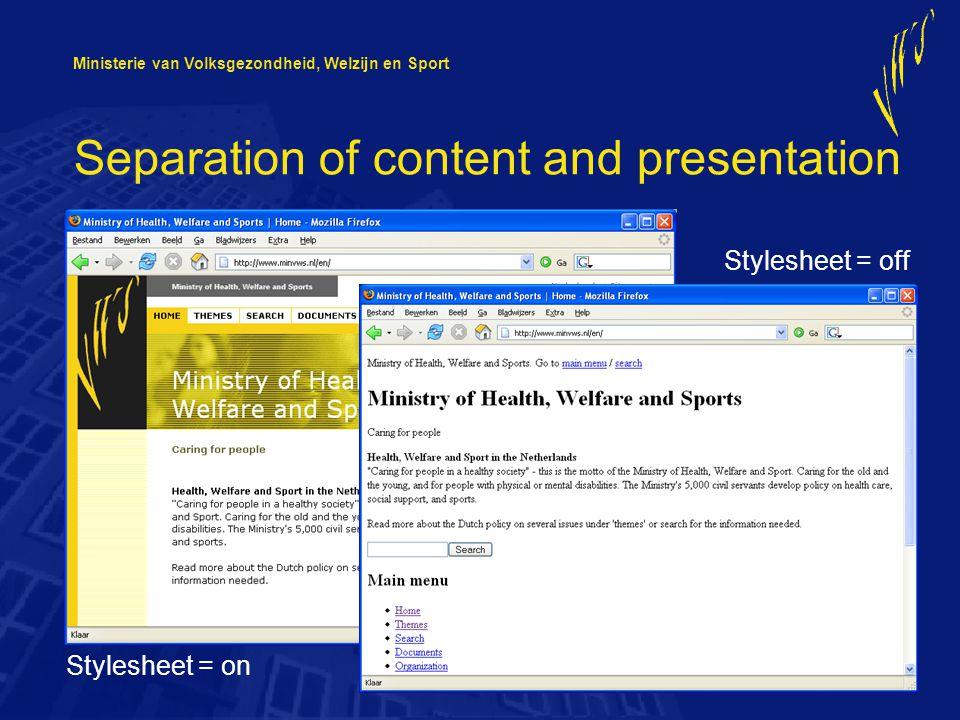 Ministerie van Volksgezondheid, Welzijn en Sport XHTML / CSS – code validation W3C validator: