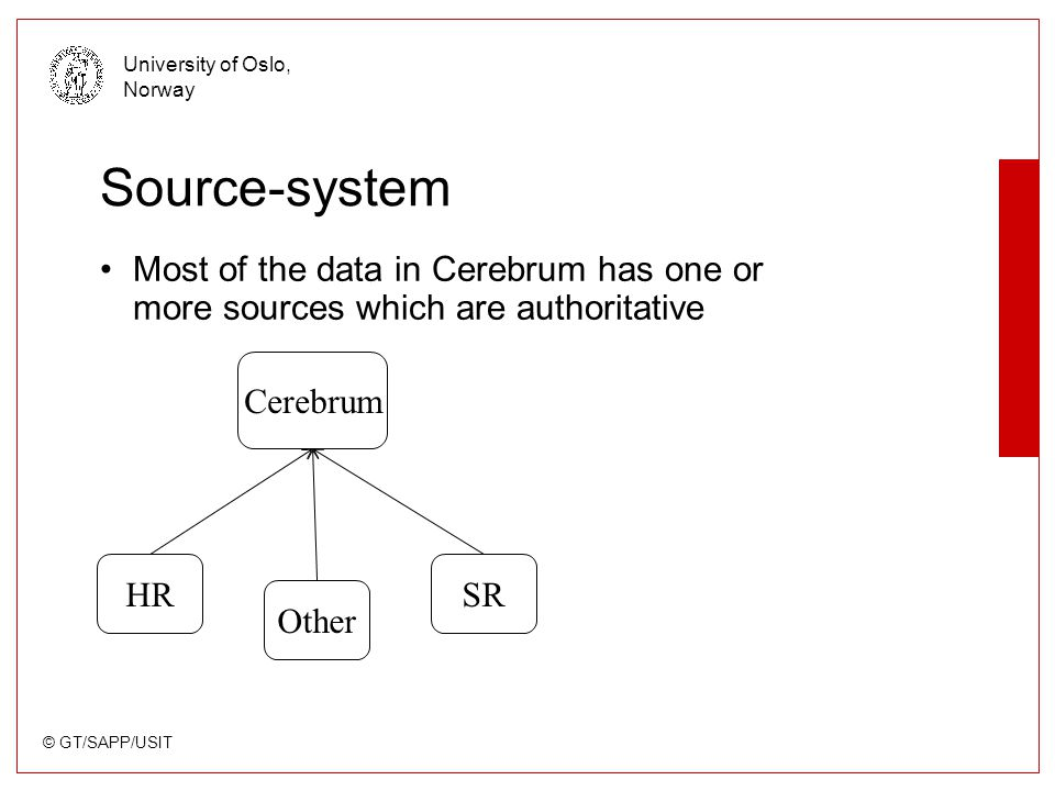 © GT/SAPP/USIT University of Oslo, Norway Source-system Most of the data in Cerebrum has one or more sources which are authoritative Other HR Cerebrum