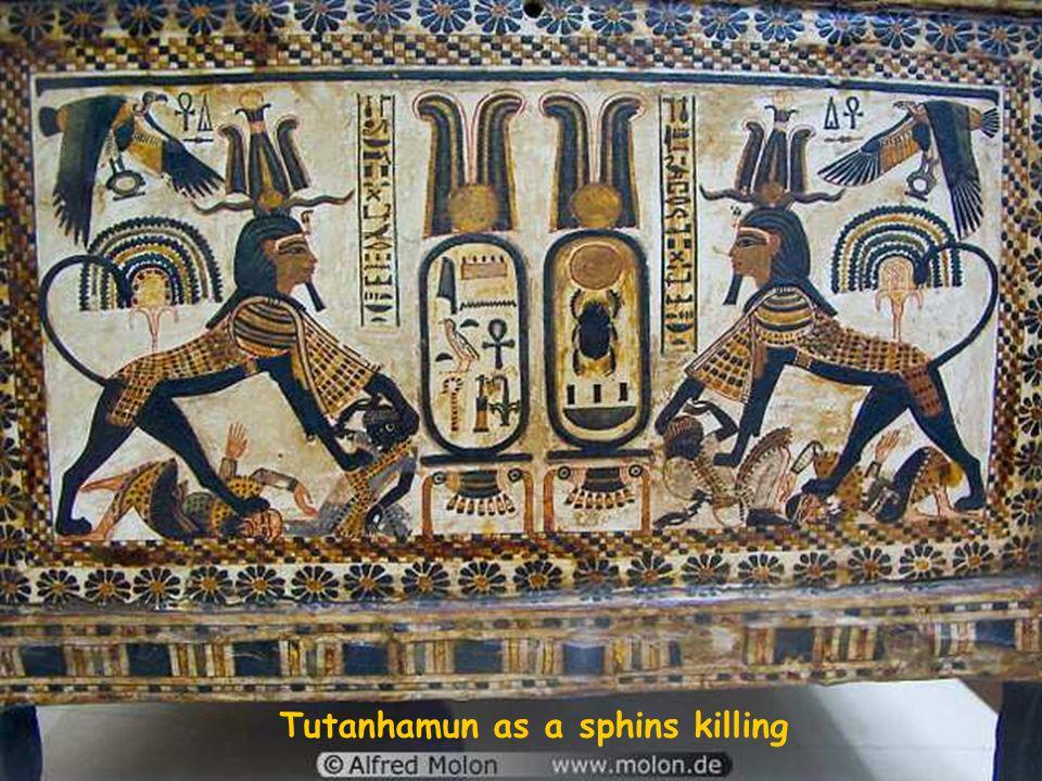 Tutanhamun as a sphins killing