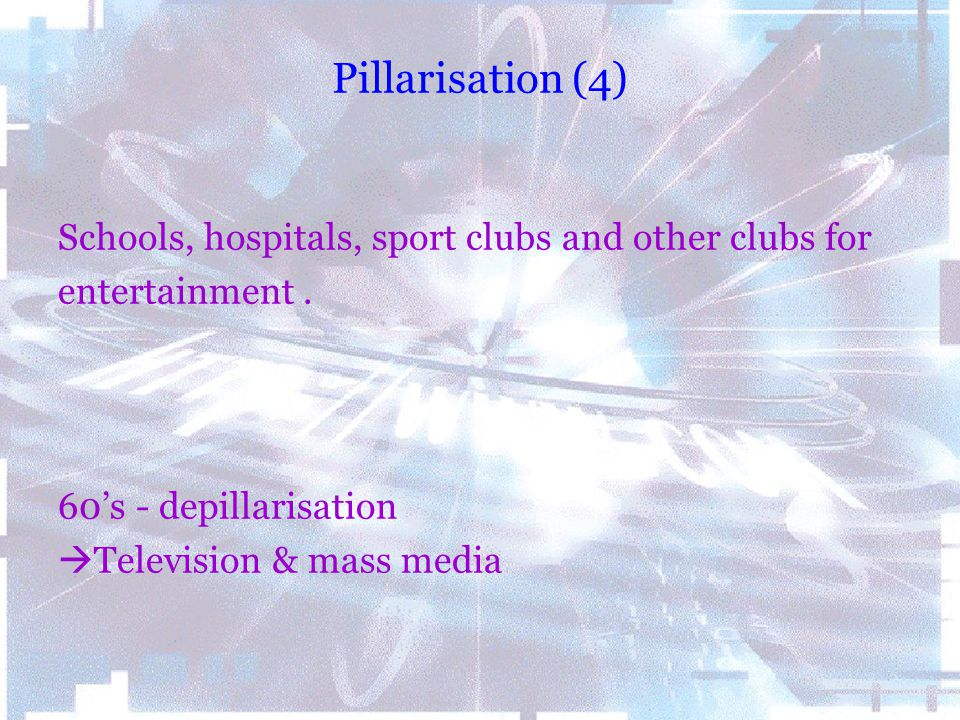 Pillarisation (4) Schools, hospitals, sport clubs and other clubs for entertainment. 60's - depillarisation  Television & mass media