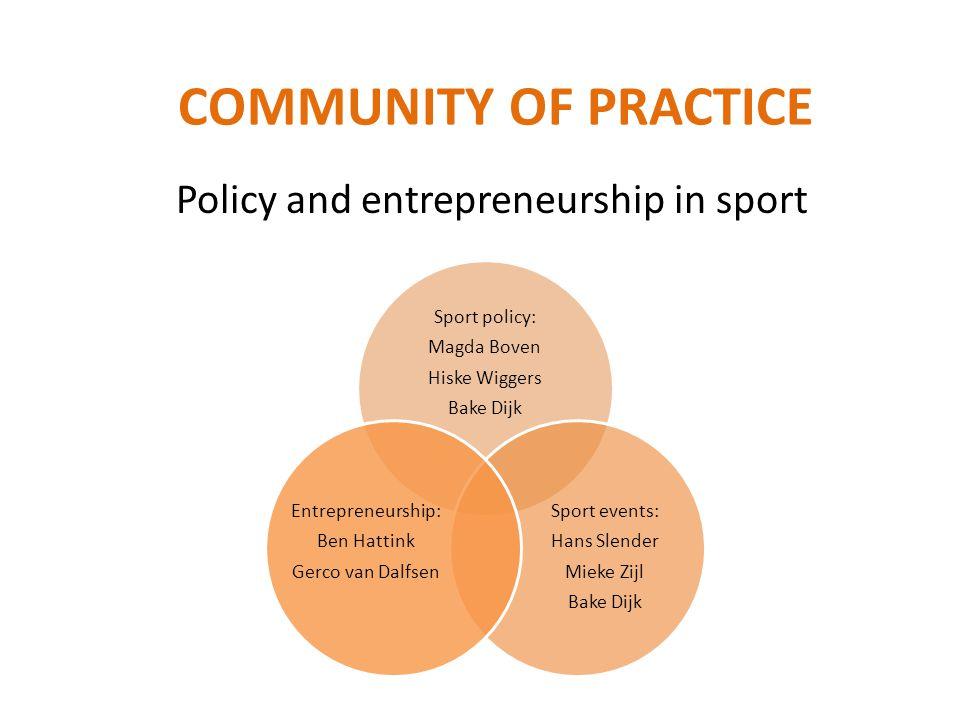 Policy and entrepreneurship in sport COMMUNITY OF PRACTICE Sport policy: Magda Boven Hiske Wiggers Bake Dijk Sport events: Hans Slender Mieke Zijl Bak
