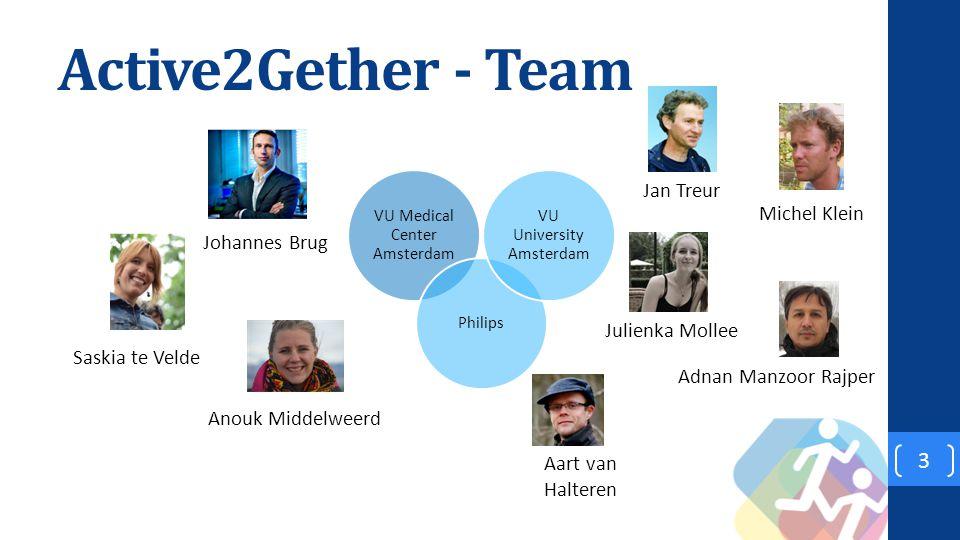 Active2Gether - Team 3 VU Medical Center Amsterdam Philips VU University Amsterdam Saskia te Velde Johannes Brug Jan Treur Adnan Manzoor Rajper Michel Klein Julienka Mollee Anouk Middelweerd Aart van Halteren