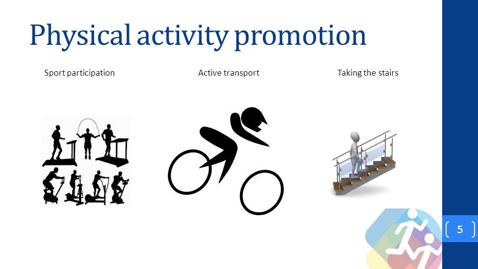 Physical activity promotion 5 Sport participation Active transportTaking the stairs
