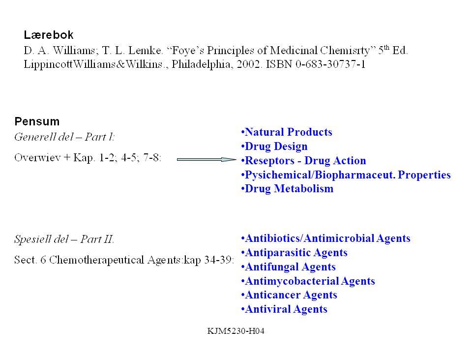 KJM5230-H04 Natural Products Drug Design Reseptors - Drug Action Pysichemical/Biopharmaceut.