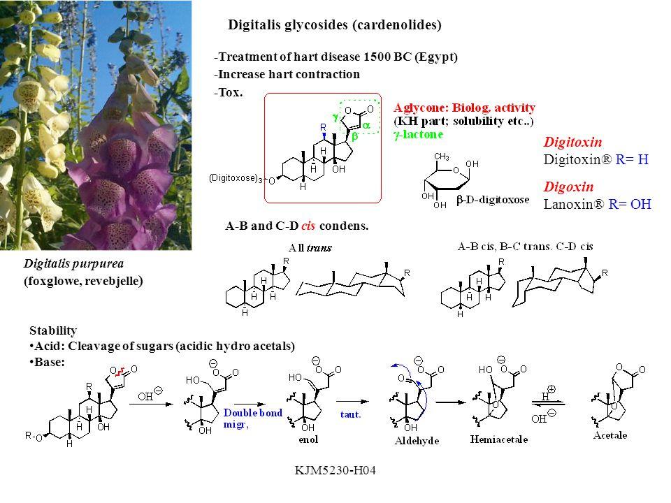 KJM5230-H04 Digitalis glycosides (cardenolides) Digitalis purpurea (foxglowe, revebjelle ) -Treatment of hart disease 1500 BC (Egypt) -Increase hart contraction -Tox.