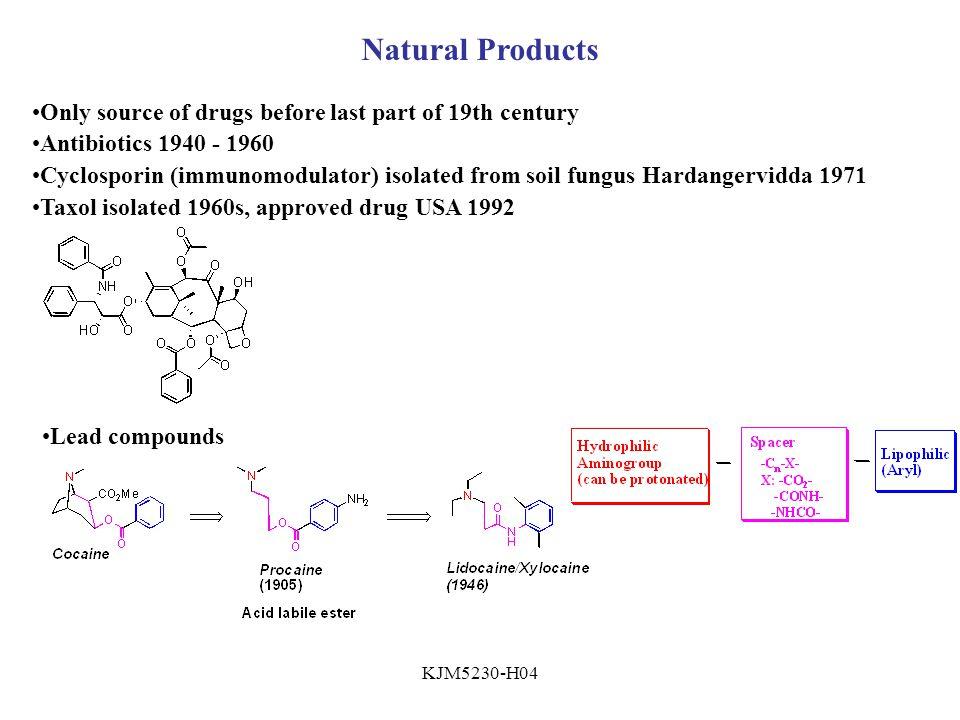 KJM5230-H04 Natural Products Only source of drugs before last part of 19th century Antibiotics 1940 - 1960 Cyclosporin (immunomodulator) isolated from soil fungus Hardangervidda 1971 Taxol isolated 1960s, approved drug USA 1992 Lead compounds