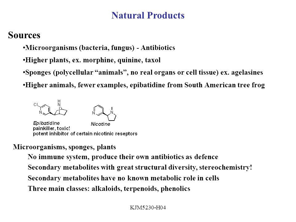 KJM5230-H04 Natural Products Sources Microorganisms (bacteria, fungus) - Antibiotics Higher plants, ex.