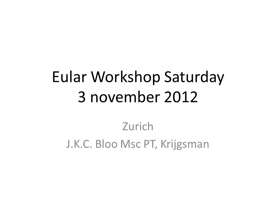 Eular Workshop Saturday 3 november 2012 Zurich J.K.C. Bloo Msc PT, Krijgsman