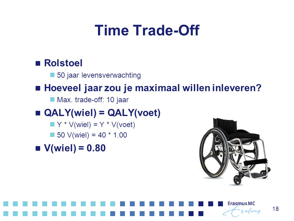 Time Trade-Off Rolstoel 50 jaar levensverwachting Hoeveel jaar zou je maximaal willen inleveren? Max. trade-off: 10 jaar QALY(wiel) = QALY(voet) Y * V