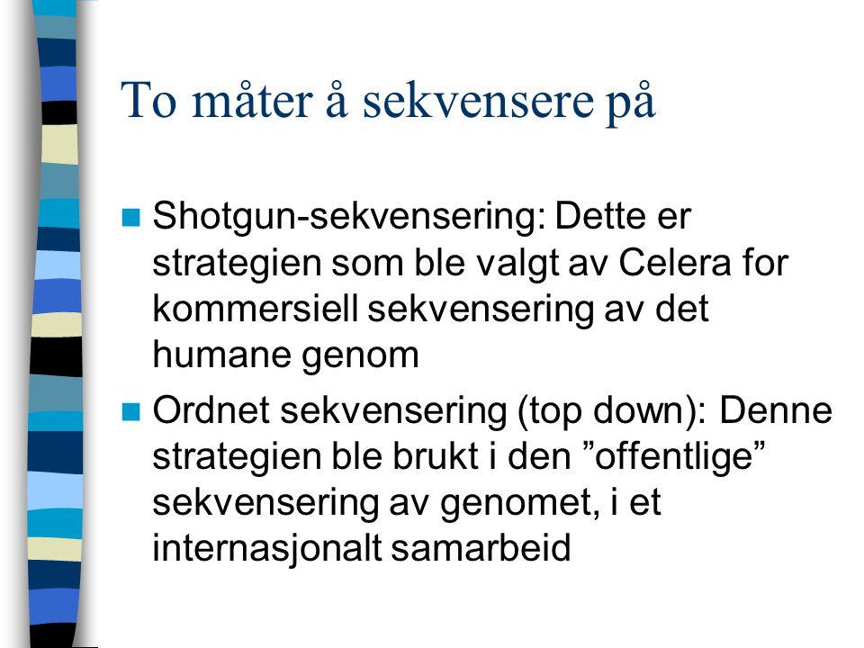 To måter å sekvensere på Shotgun-sekvensering: Dette er strategien som ble valgt av Celera for kommersiell sekvensering av det humane genom Ordnet sekvensering (top down): Denne strategien ble brukt i den offentlige sekvensering av genomet, i et internasjonalt samarbeid
