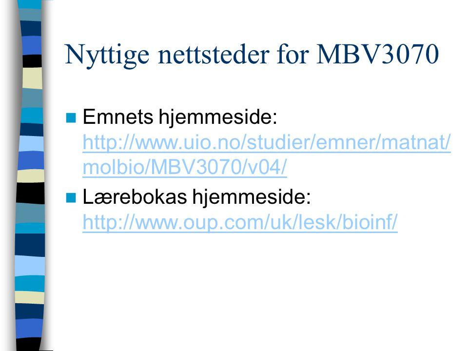 Nyttige nettsteder for MBV3070 Emnets hjemmeside: http://www.uio.no/studier/emner/matnat/ molbio/MBV3070/v04/ http://www.uio.no/studier/emner/matnat/ molbio/MBV3070/v04/ Lærebokas hjemmeside: http://www.oup.com/uk/lesk/bioinf/ http://www.oup.com/uk/lesk/bioinf/