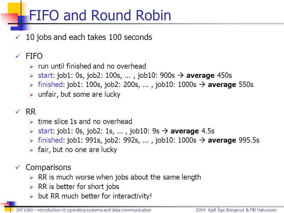 2004 Kjell Åge Bringsrud & Pål HalvorsenINF1060 – introduction to operating systems and data communication FIFO and Round Robin 10 jobs and each takes
