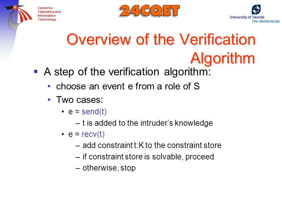 University of Twente The Netherlands Centre for Telematics and Information Technology Overview of the Verification Algorithm  A step of the verification algorithm: choose an event e from a role of S Two cases: e = send(t) –t is added to the intruder's knowledge e = recv(t) –add constraint t:K to the constraint store –if constraint store is solvable, proceed –otherwise, stop