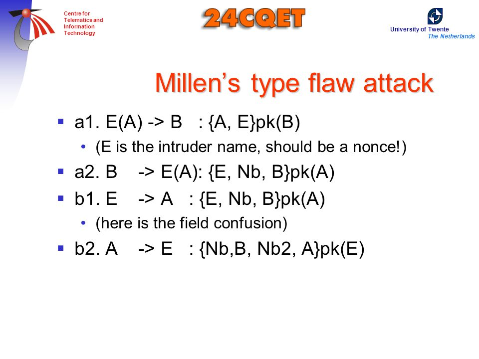 University of Twente The Netherlands Centre for Telematics and Information Technology Millen's type flaw attack  a1.